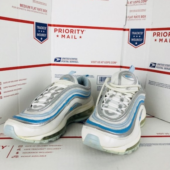 on sale 753b7 fae15 GS AIR MAX 97 CLASSIC WHITE BLUE 313054-142 Sz 6Y